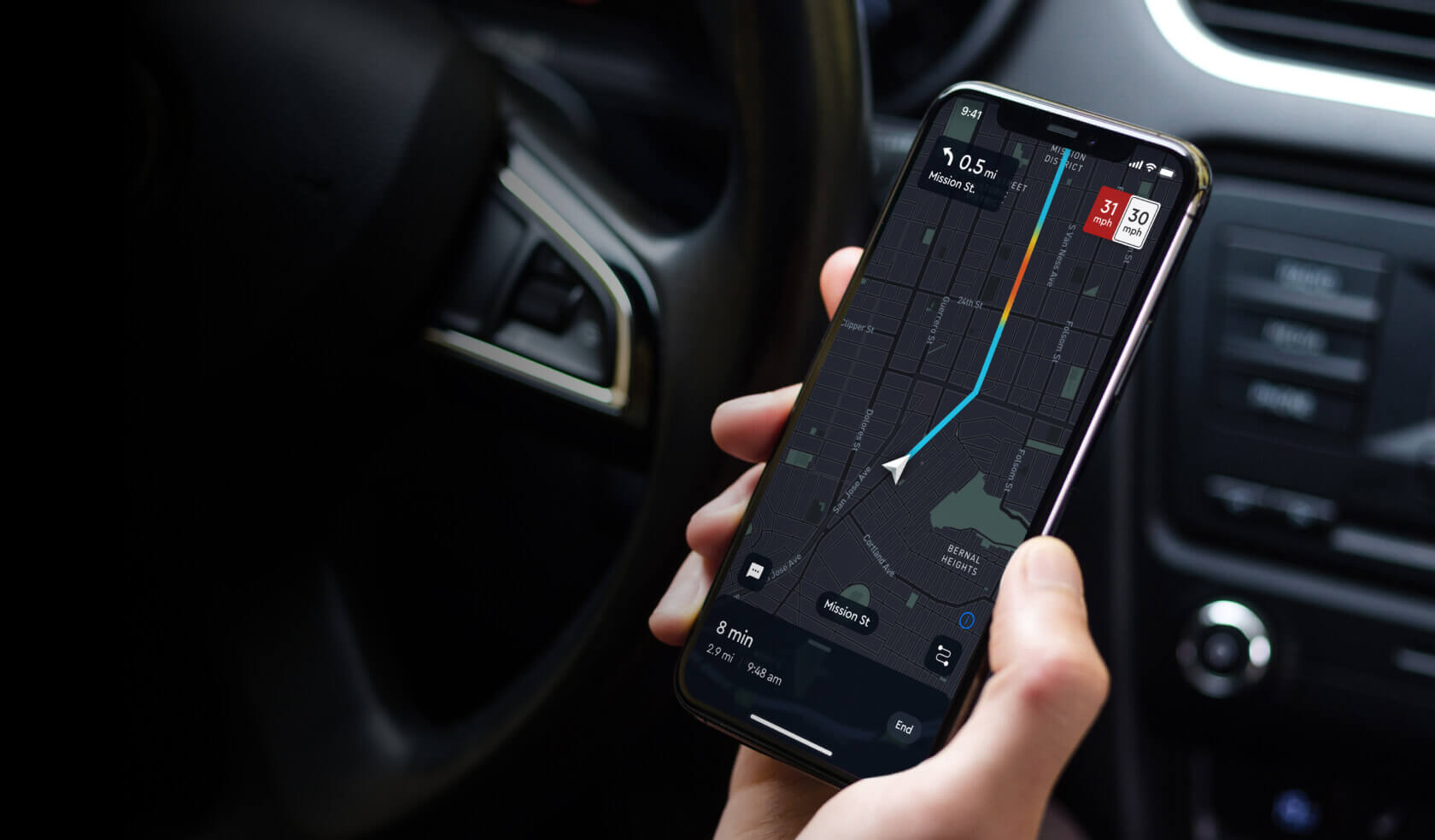 Mapbox in-car navigation on a mobile phone.