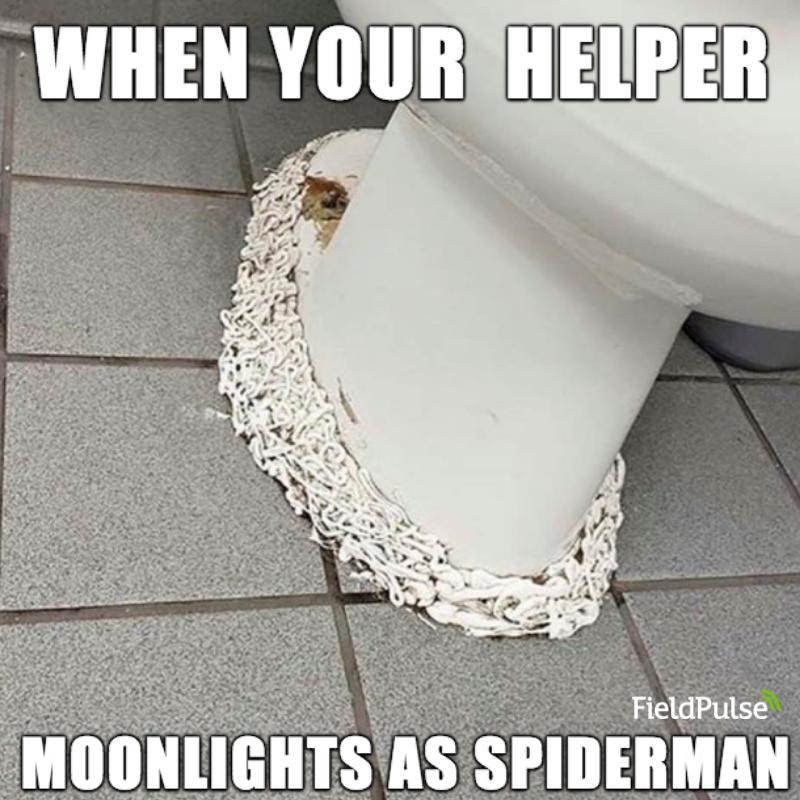 Plumbing Meme: When your helper moonlights as spider-man