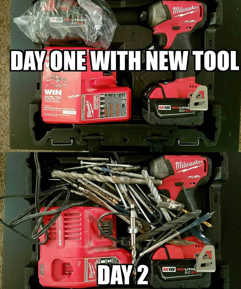 Plumbing Meme: Day one with a new tool vs. day two