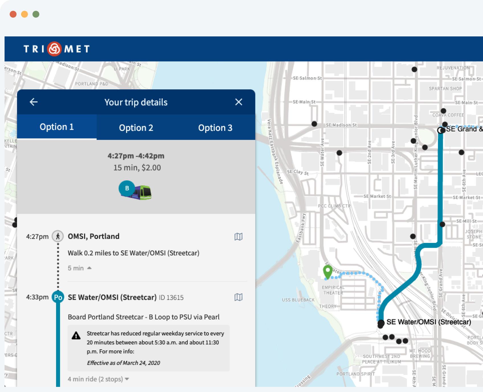 TriMet mobile app screenshot