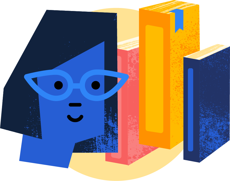 Illustration: A librarian with books