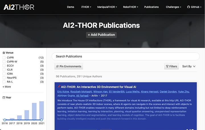AI2-THOR Publications Website