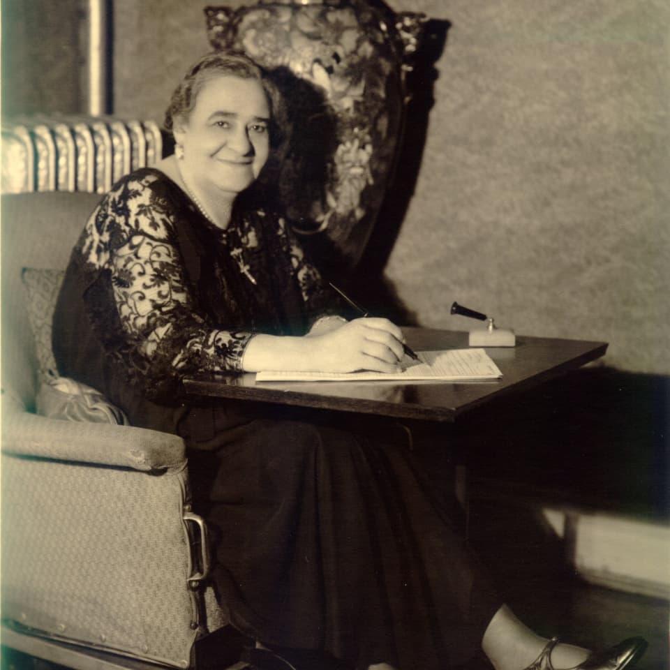 Maggie Walker sitting in her wheelchair at her Richmond home, c. 1920s.