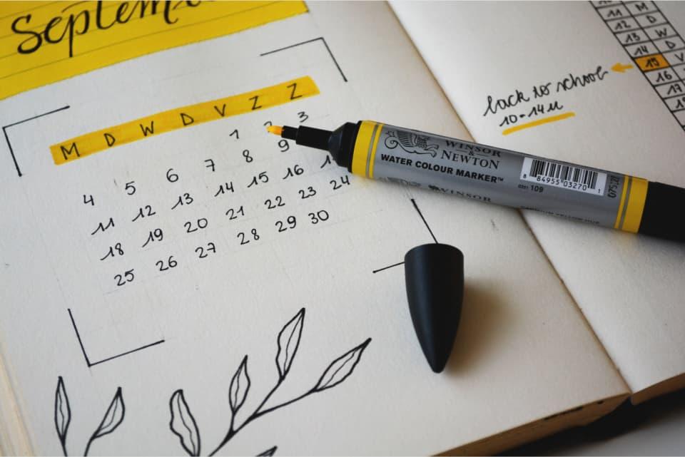 Calendar and highlighter pen, by Estee Janssens
