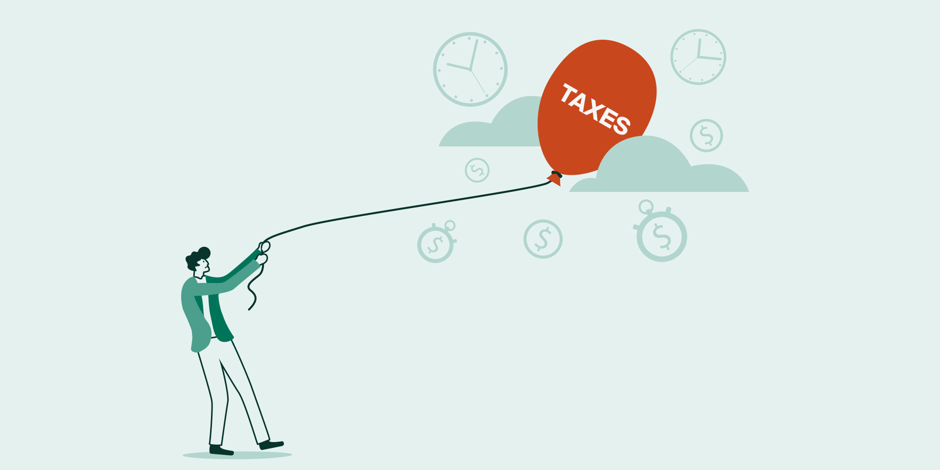"""Decorative, illustration of a person holding a floating balloon labeled """"taxes"""" 