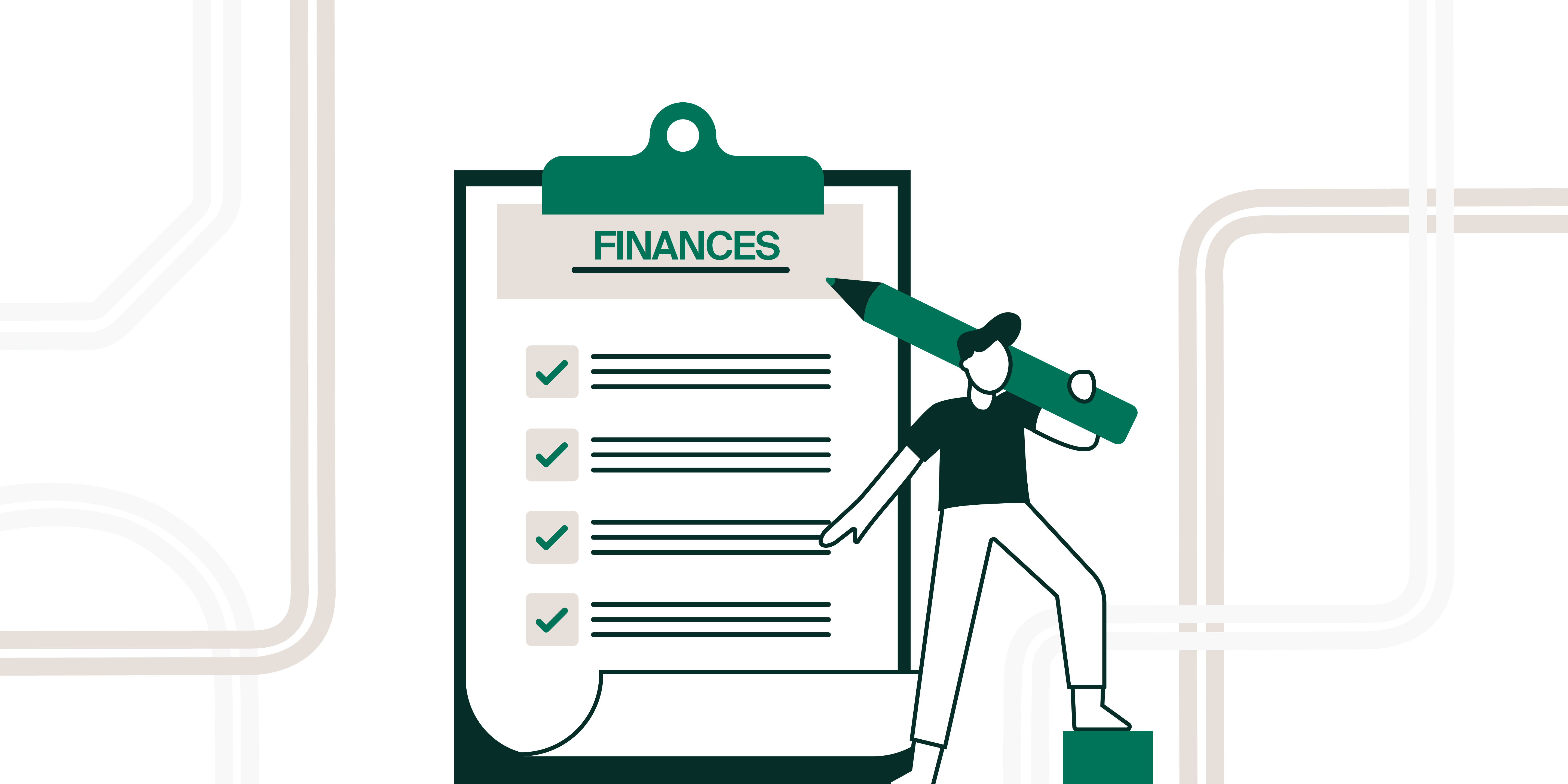 """Decorative, illustration of a person holding an enormous pencil in front of an enormous checklist labeled """"Finances"""" 