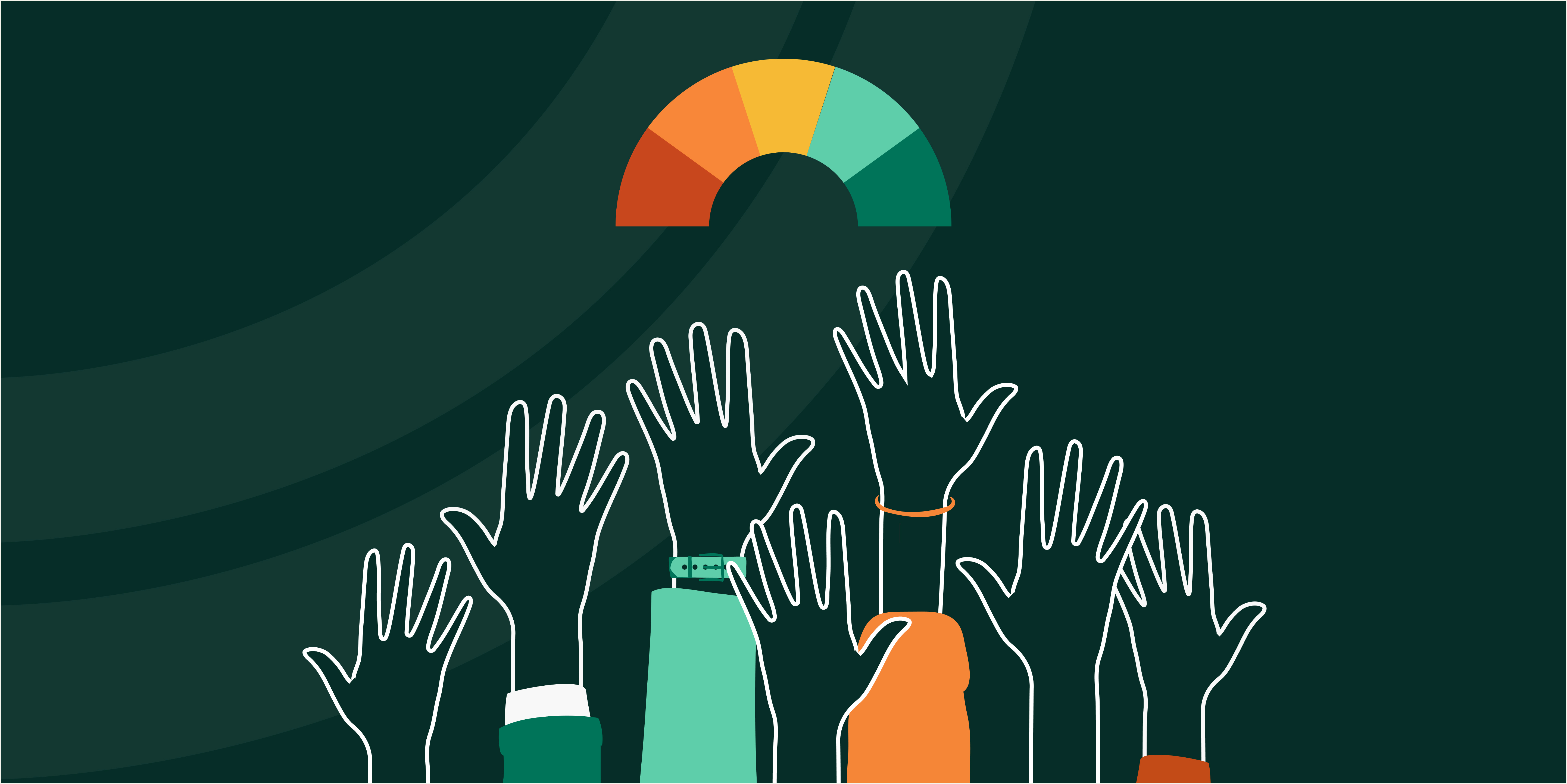 Decorative, illustration of many hands reaching up toward an arch-shaped graph   By Kyle Duong