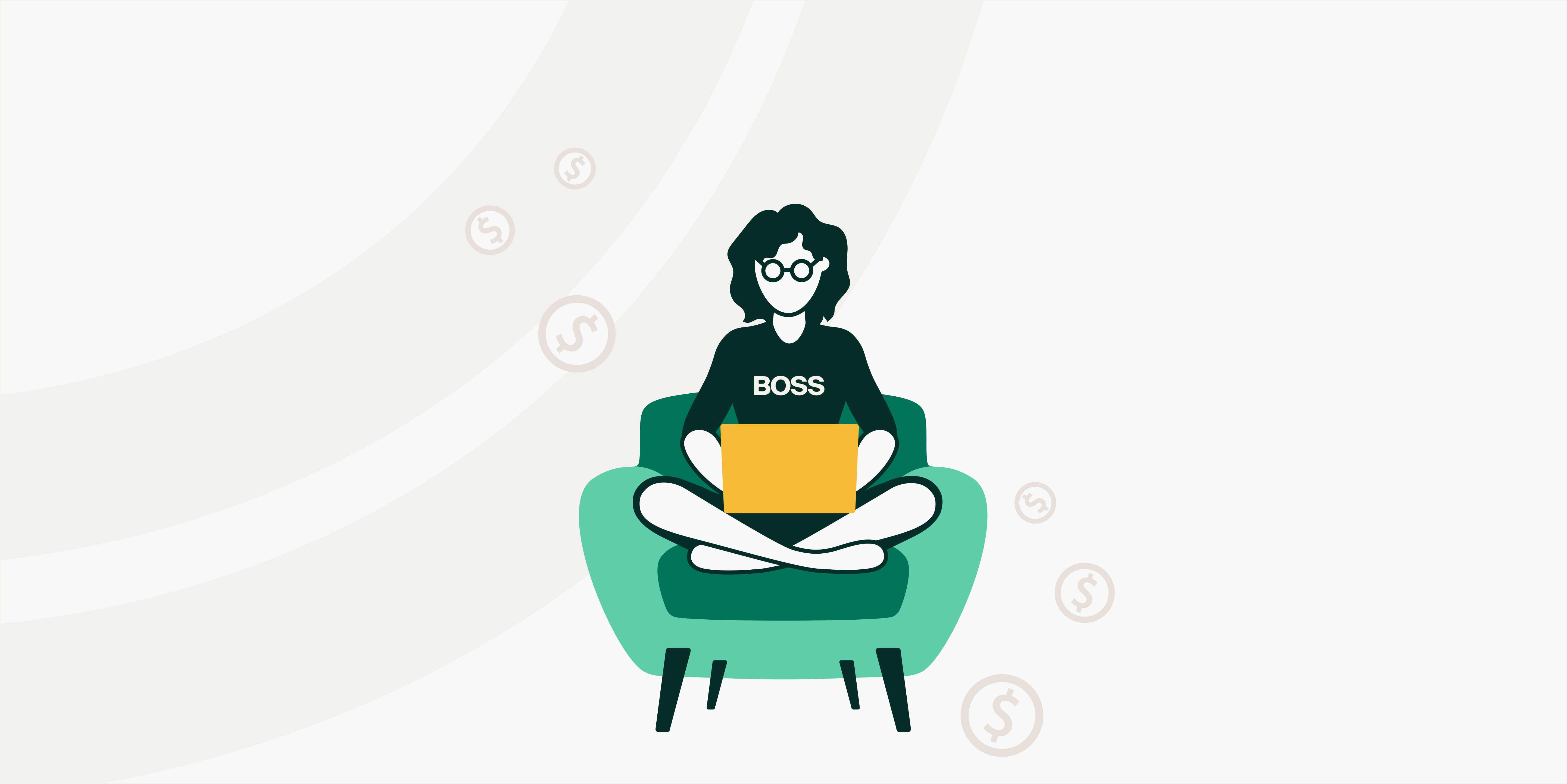 """Decorative, illustration of a person wearing a shirt labeled """"Boss"""" sitting cross-legged on a chair with a laptop in their lap 