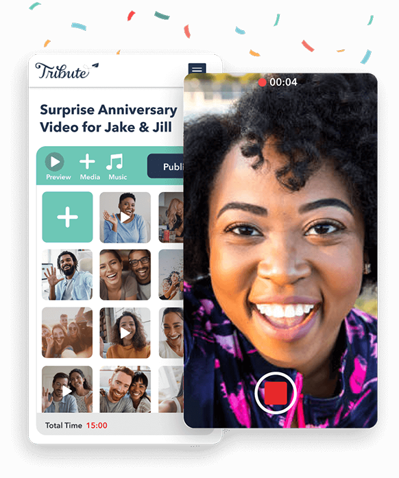Use Tribute's user-friendly anniversary video maker for your video montage