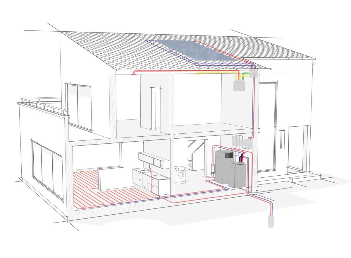 Schema einer Erdsonden-Wärmepumpe zusammen mit einer Photovoltaikanlage. Stiebel Eltron