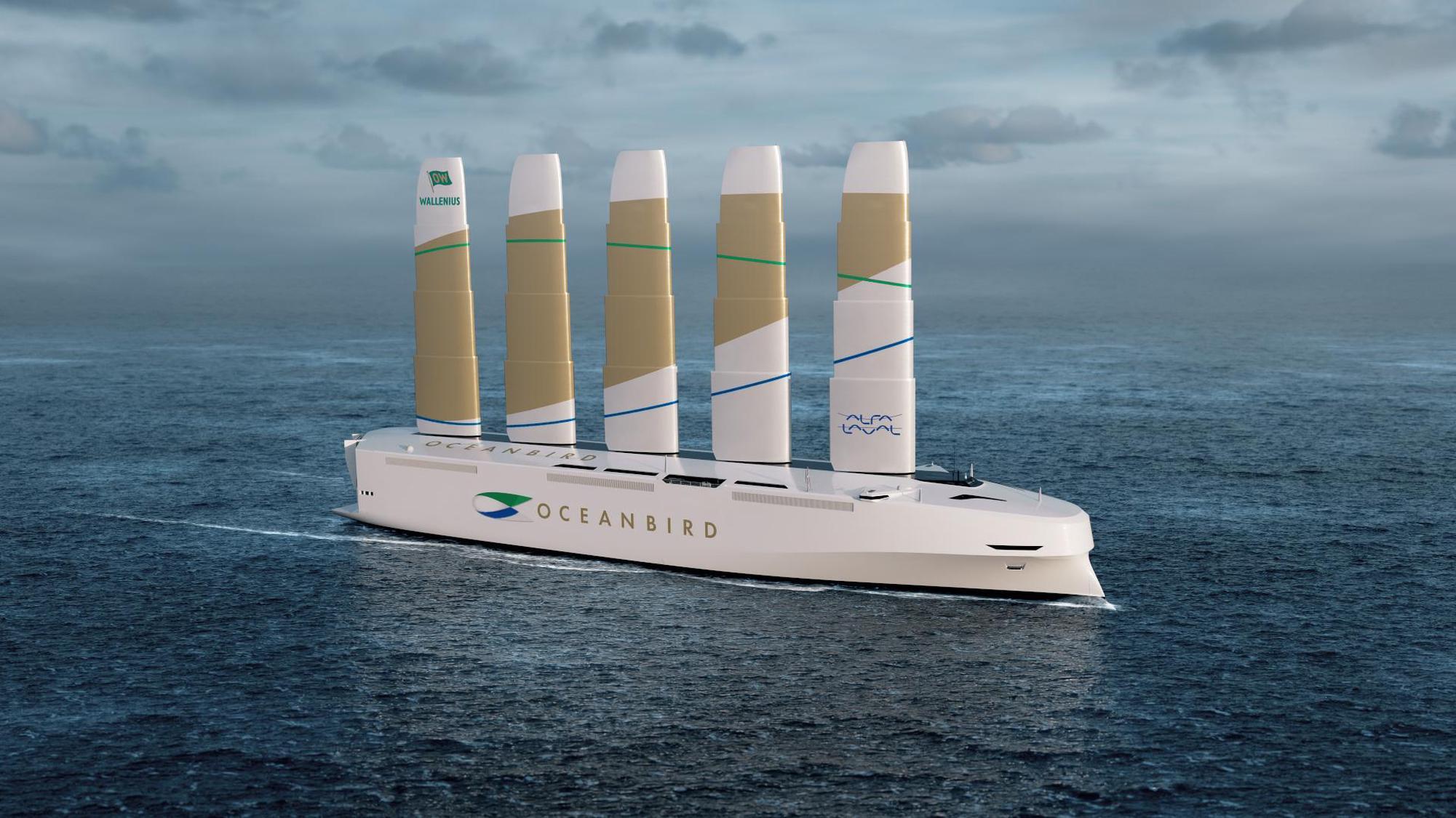 Die flügelartigen Segel der «Oceanbird» lassen sich wie Teleskope ausfahren und einziehen, was auch die Fahrt unter Brücken durch ermöglicht. Wallenius Marine
