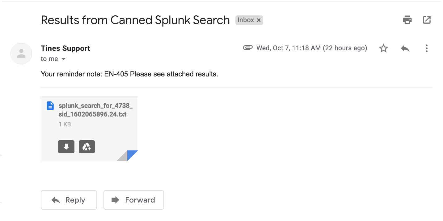 Automatic email with attached CSV results to requester.