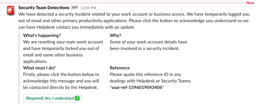 (User message via Slack with prompt/button to click)