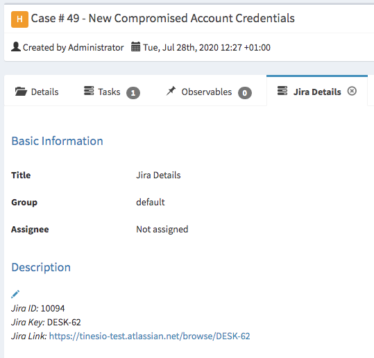 (Automatic addition of Jira Details in TheHive as a task for tracking purposes )