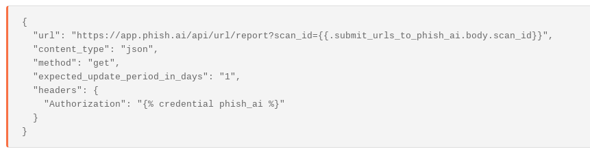Another HTTP Request Agent configuration to retreive the results of phish.ai scan