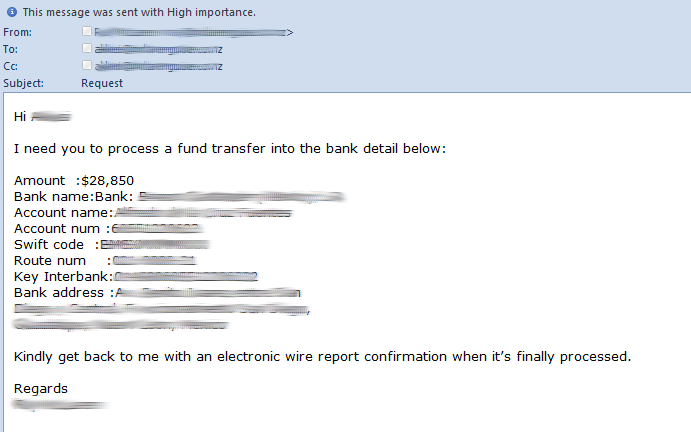 CEO Fraud Sample Email