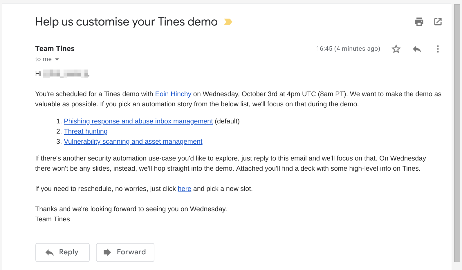 Tines demo email sent to customer