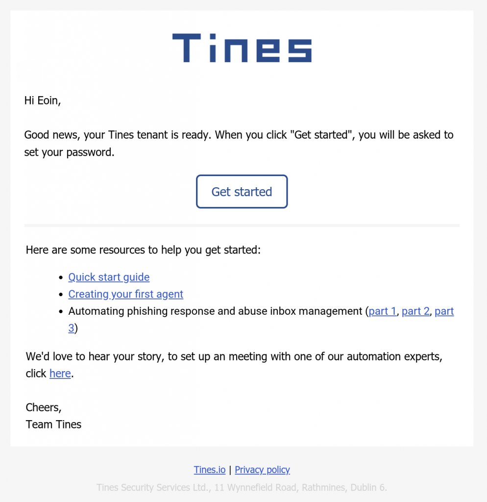 Tines welcome email automation devsecops
