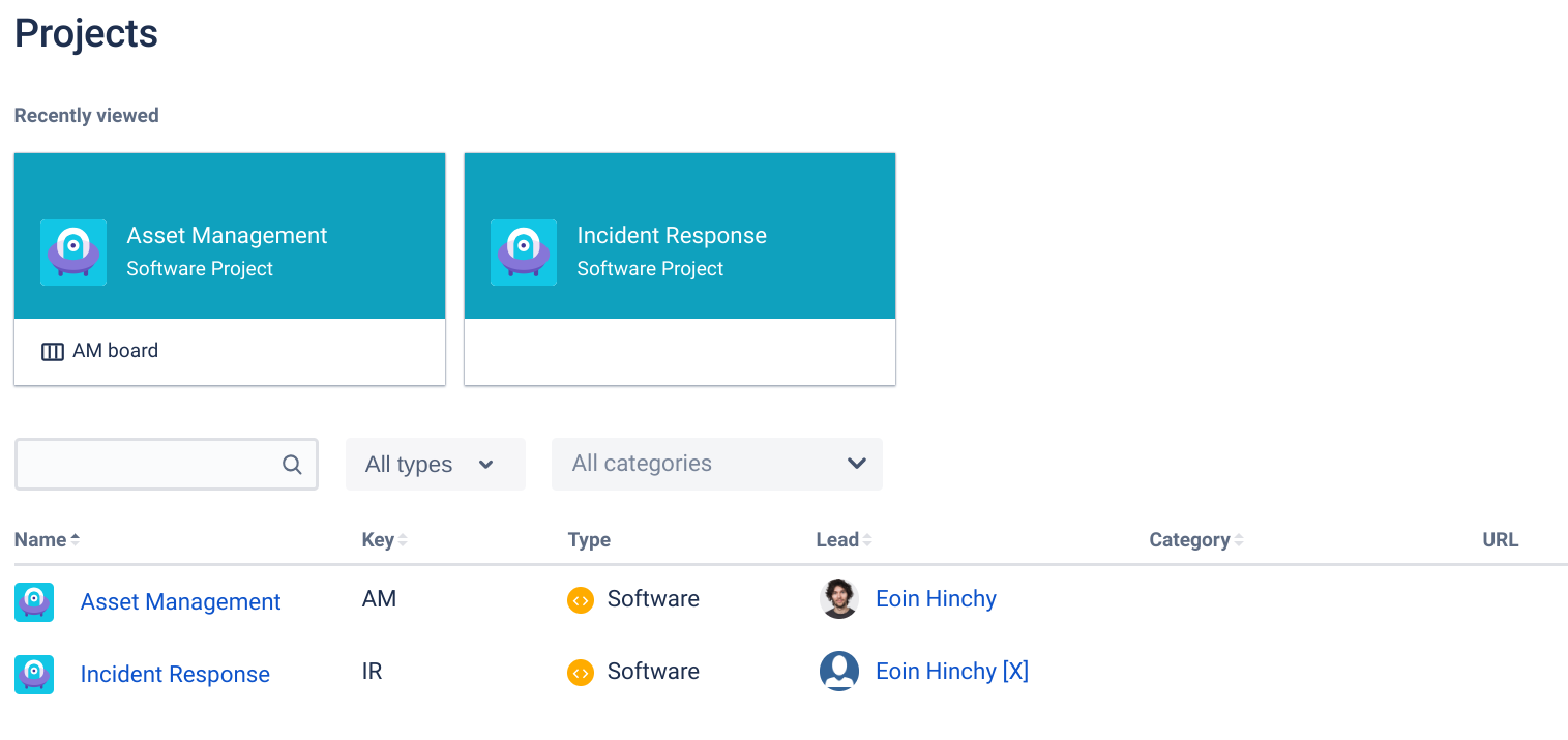 Asset Management Project in Jira