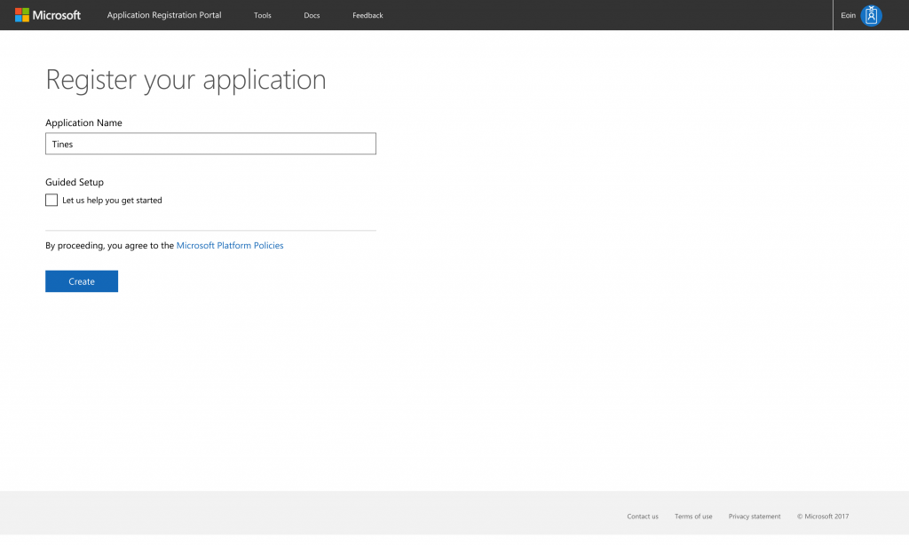 Microsoft Application Registration Portal - Name your app for Microsoft Graph Security Automation