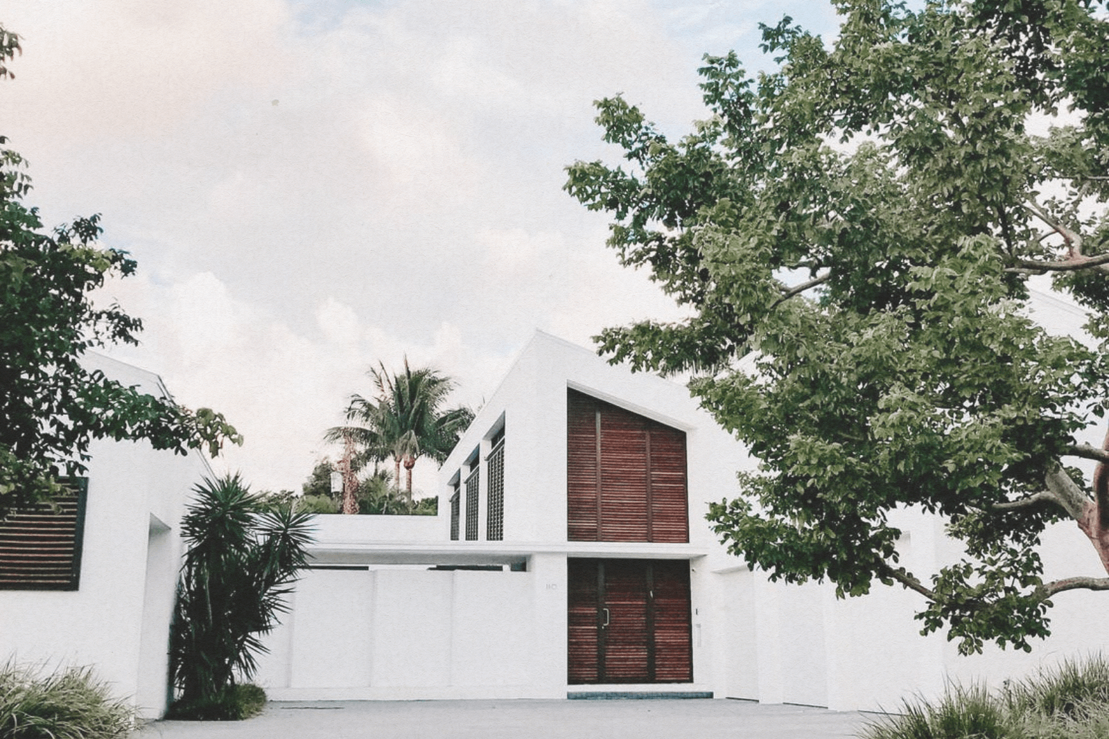 large white modern home with trees