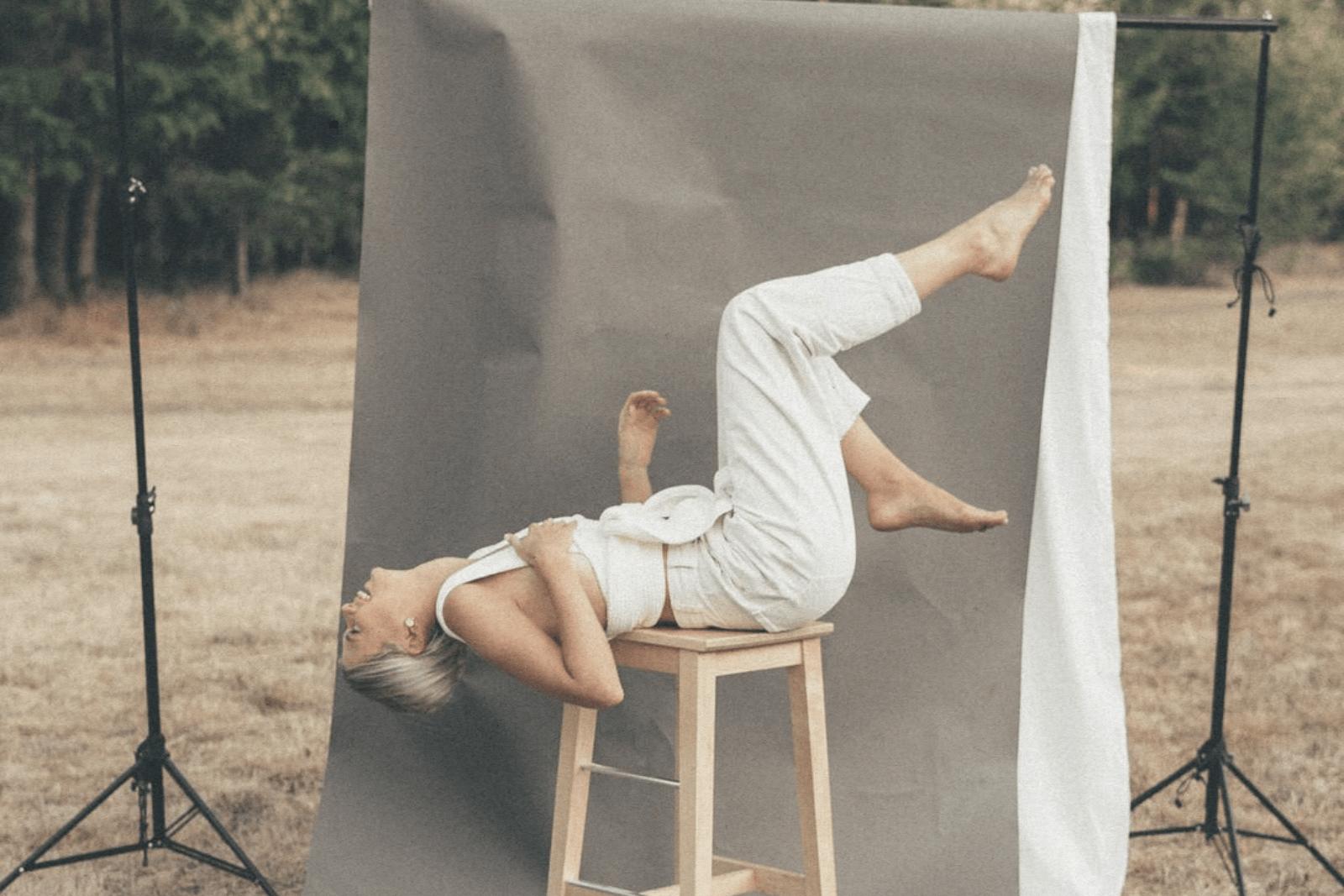 women at photoshoot laughing
