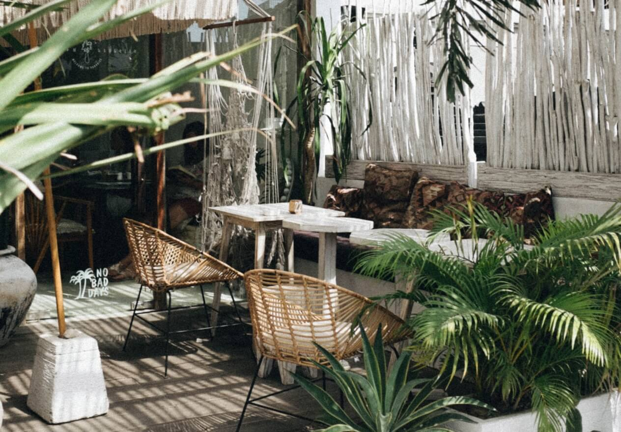 lush outdoor lounge