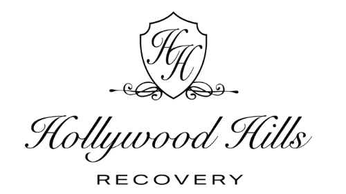 Hollywood Hills Recovery Logo Crest and Text Black