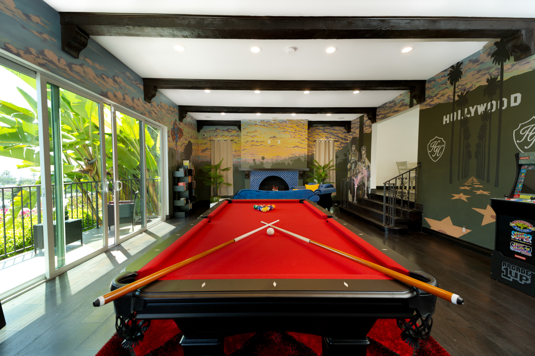 Shot of the game room pool table.