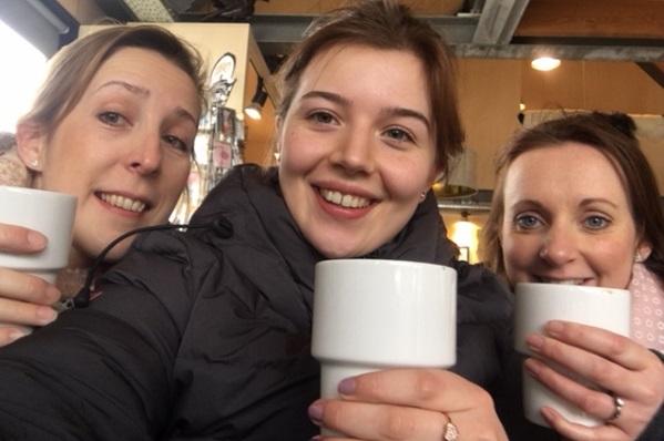 Rayleigh, Carley and Hannah Drinking Hot Chocolate