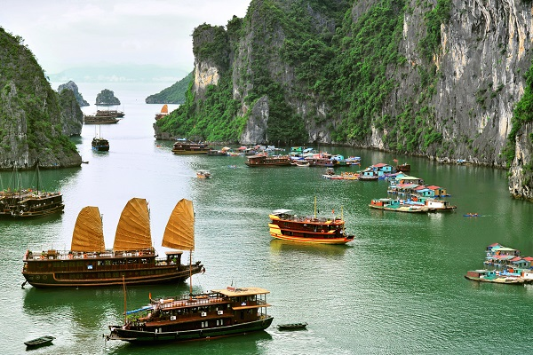 Junk Boats On Ha Long Bay