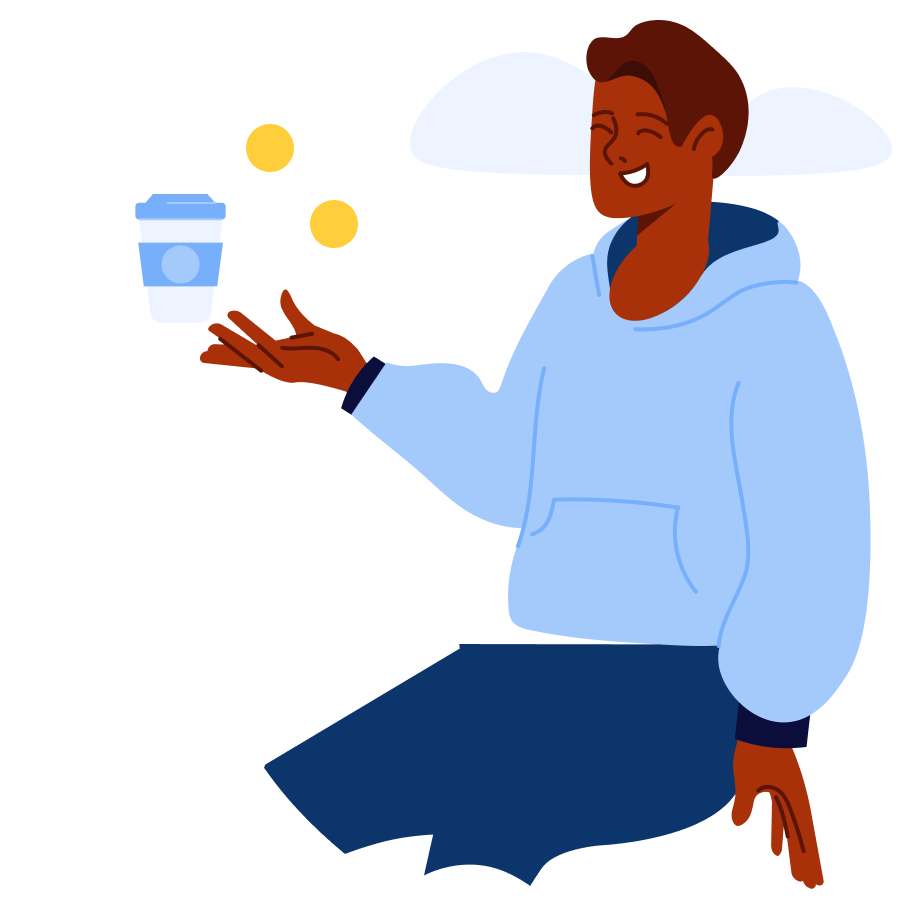 Man holding a coffee cup with change