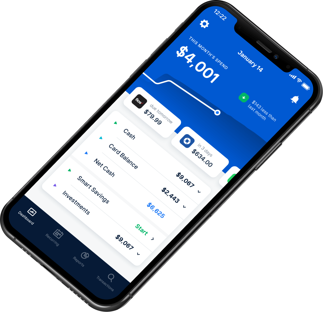 Mobile phone showing Truebill app dashboard. The dashboard features your current spend compared to last month, your upcoming bills, and the balances of your various, connected accounts.