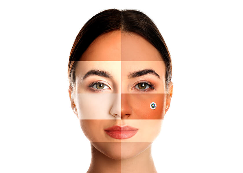 Woman with different skin tones Scarletred Vision skin patch