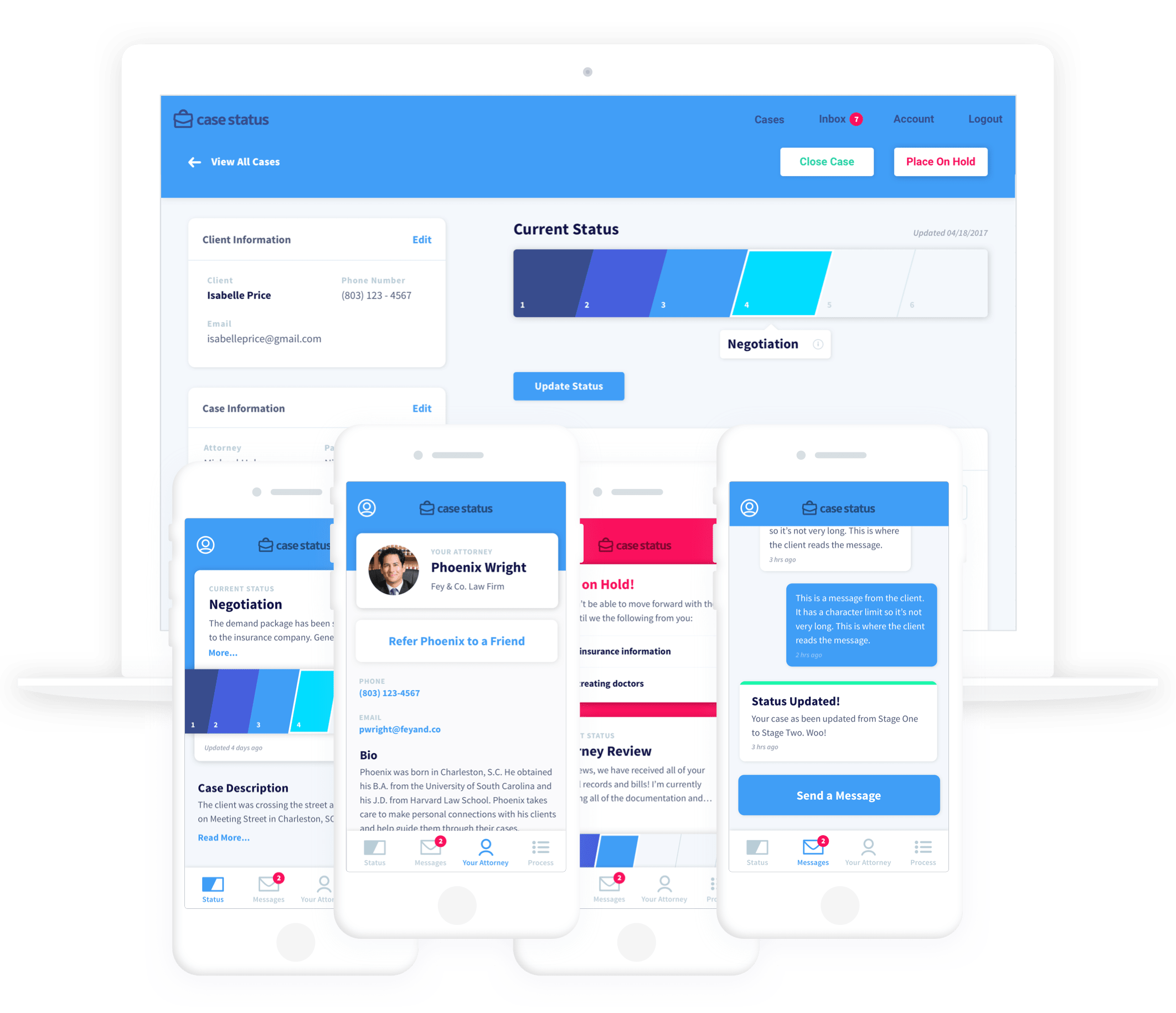 A mockup of the Case Status app on desktop and mobile.
