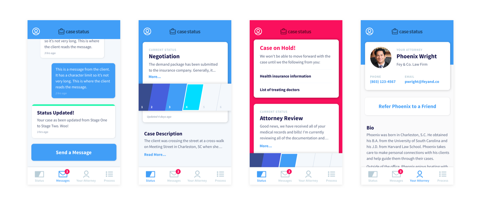 Mockups for the client case status