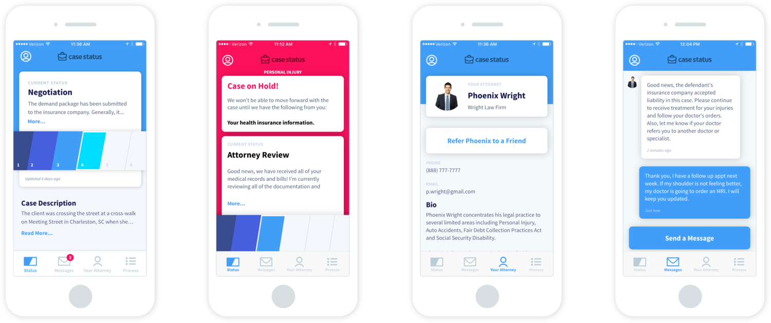 the tracking screens attorney clients see in Case Status frontend