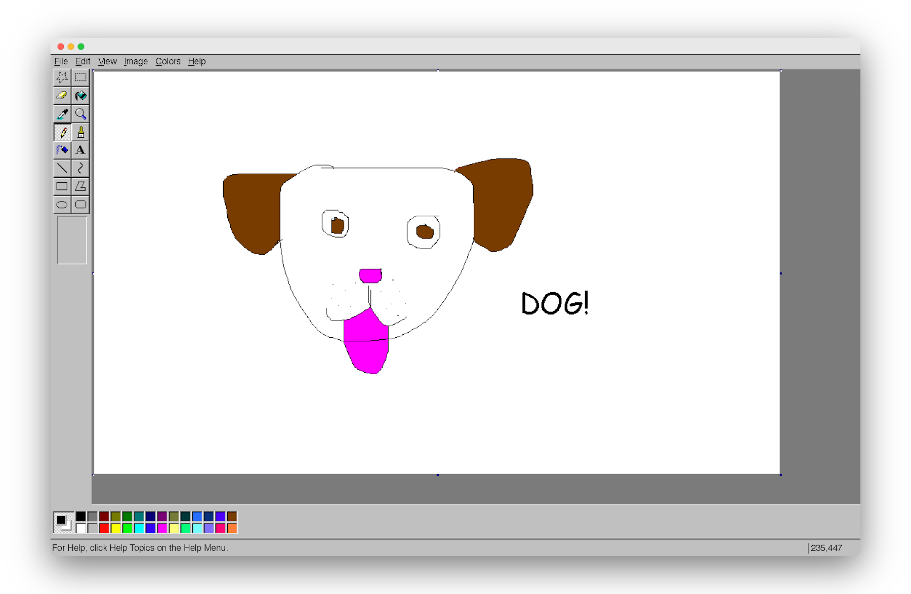 rough image of a dog drawn in Paint