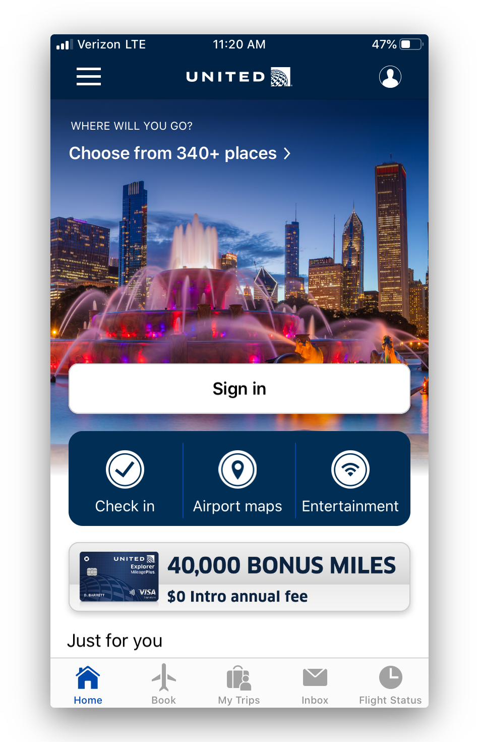 second screen in the United Airlines app
