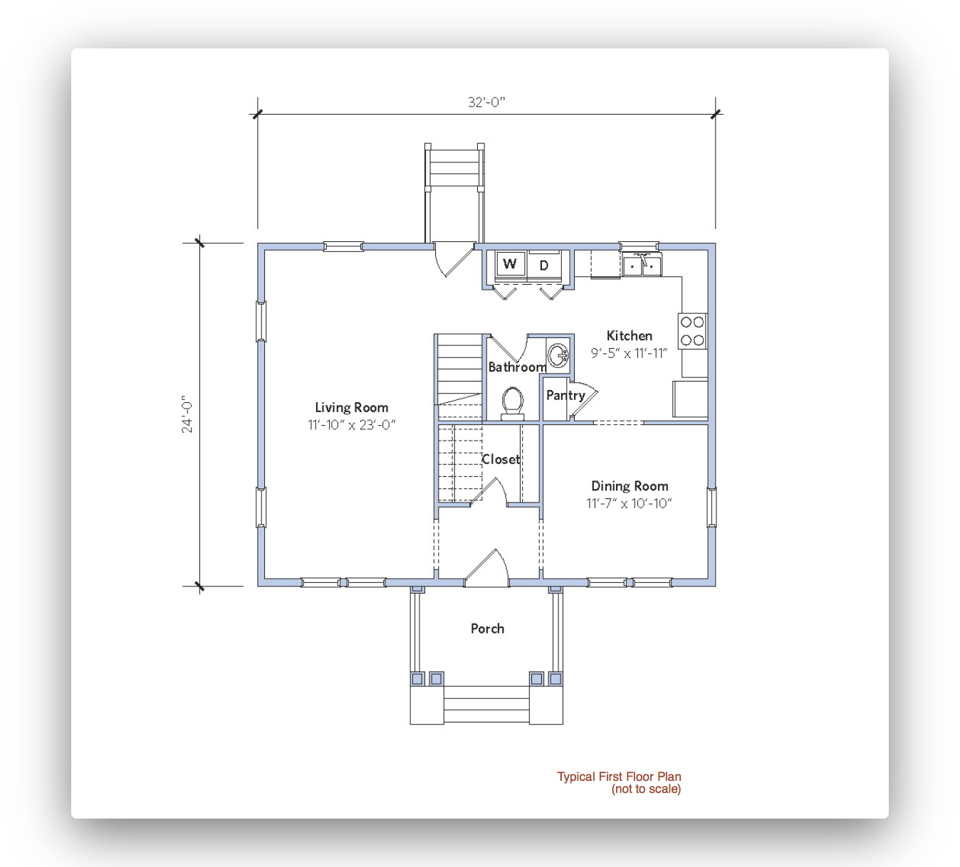 Architectural blueprint of a small house