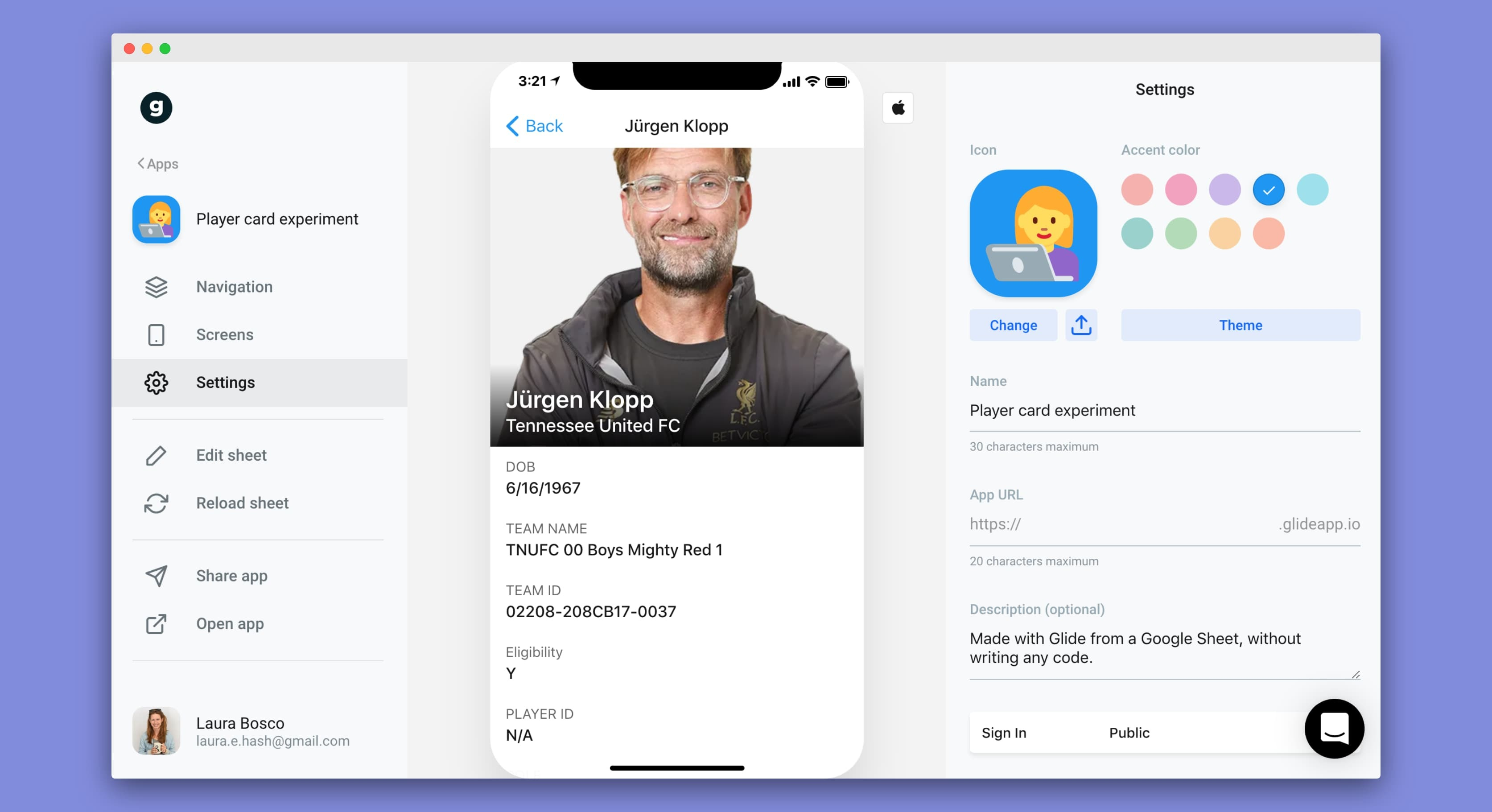 The backend interface of Glide app-builder