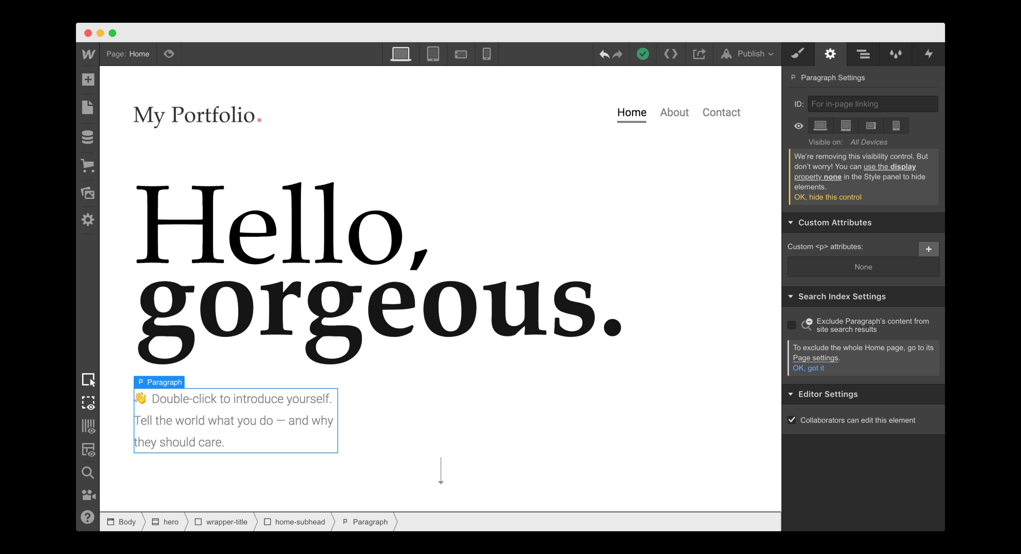 backend interface of no-code website builder, Webflow