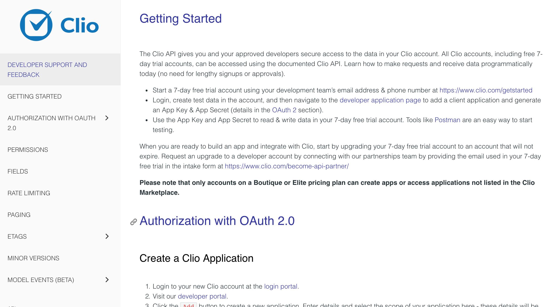 Screenshot of software documentation