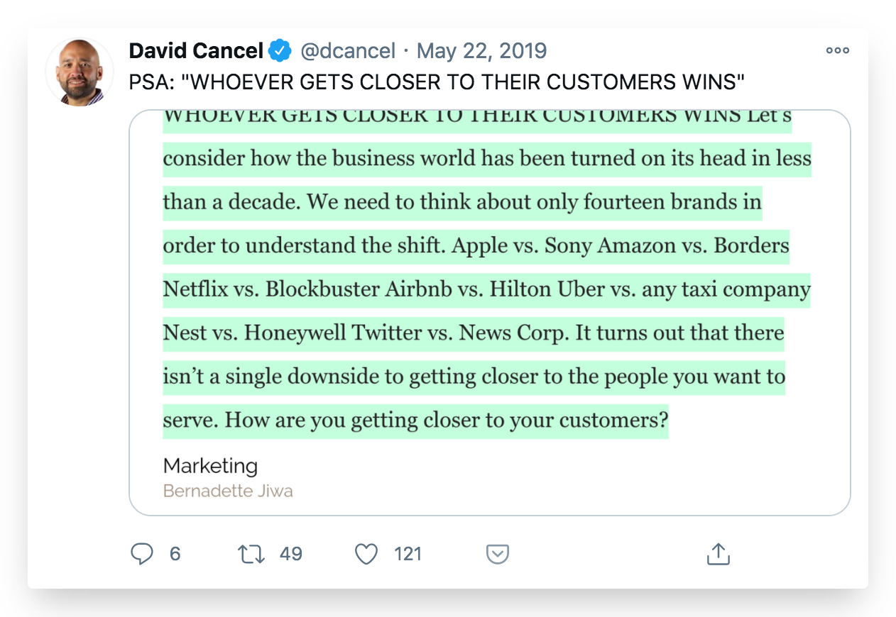 David Cancel tweet on why customers are a cornerstone