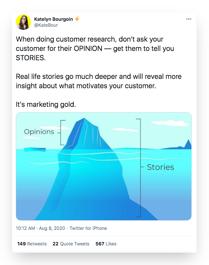 Katelyn Bourgoin tweet about why stories are better than opinions