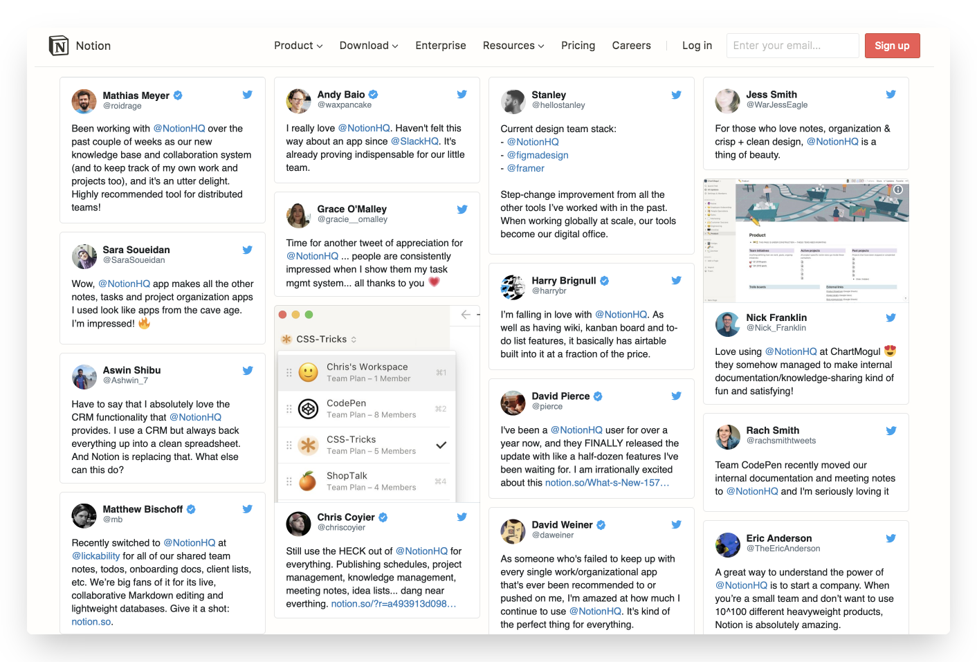 Wall of customer reviews on Notion homepage