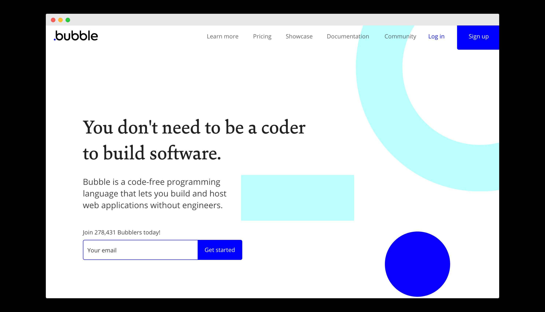 no-code web app builder homepage