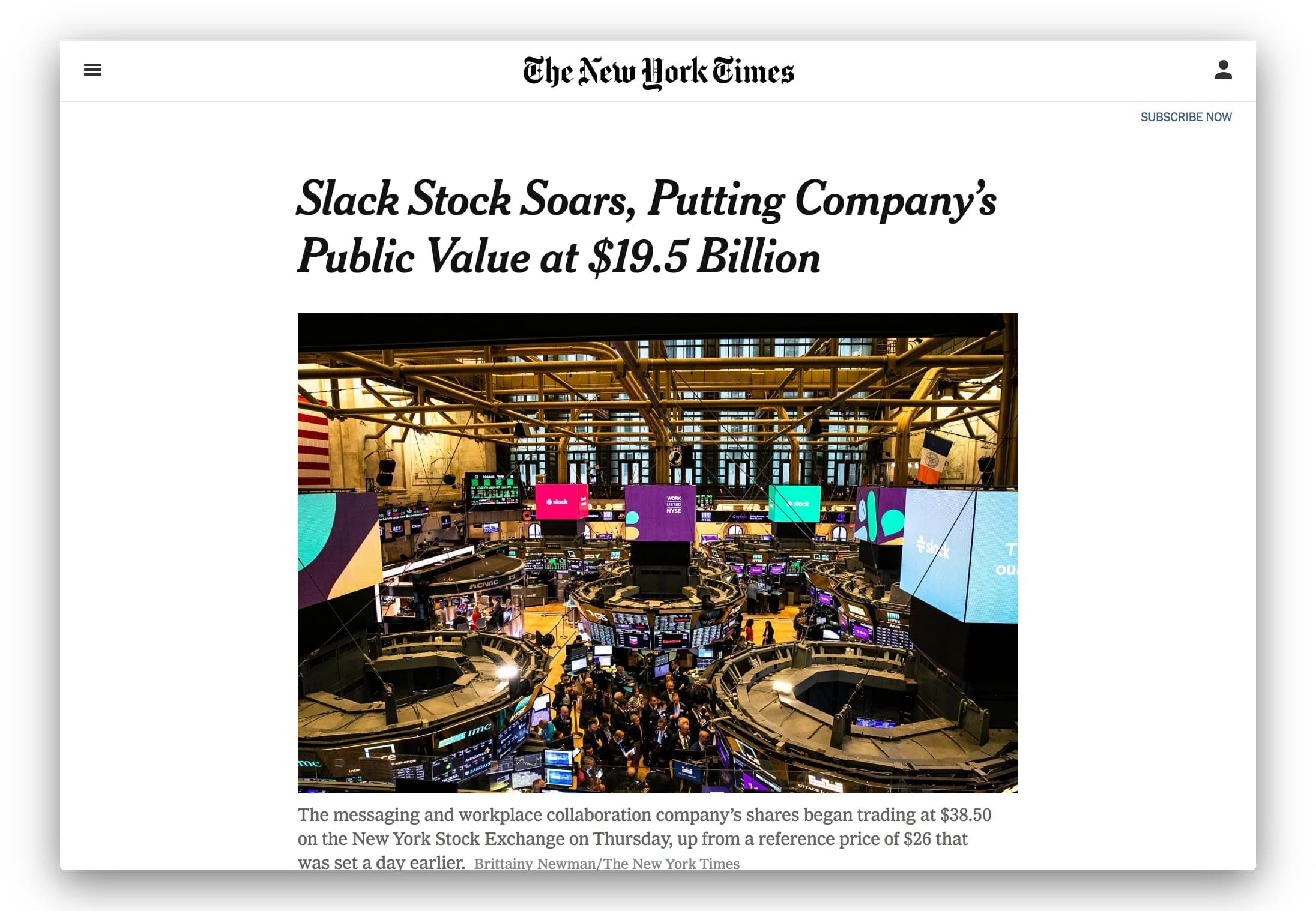 NYTimes article about Slack's increasing stock
