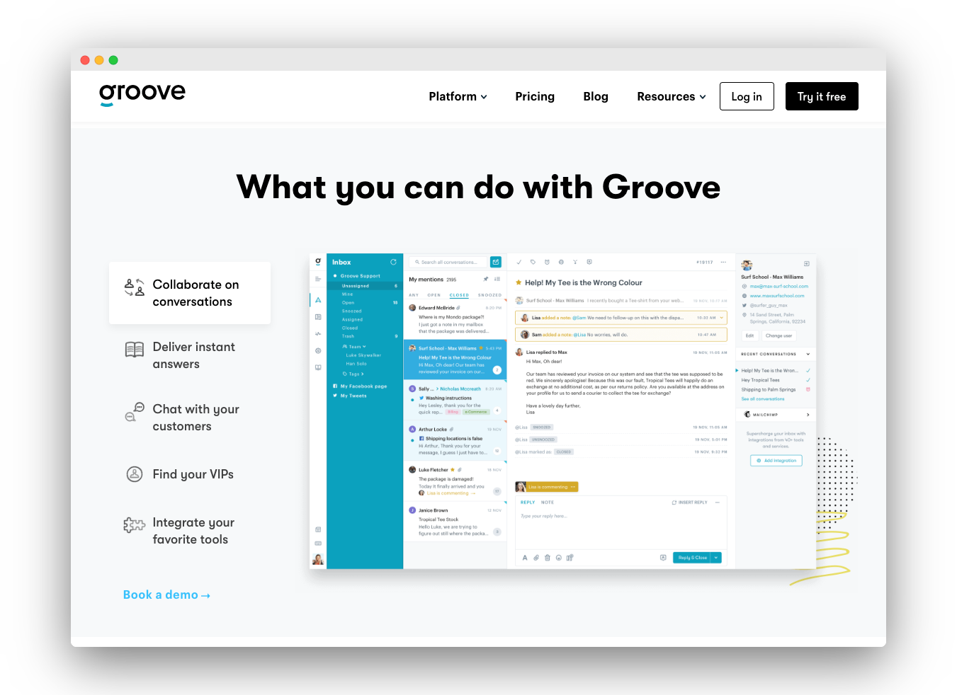 Groove's current homepage