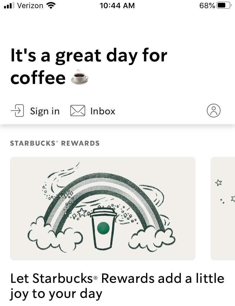Starbucks app welcome screen